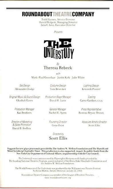 The Understudy (Play), Justin Kirk, Mark-Paul Gosselaar, Julie White -Roundabout at Laura Pels Theatre, The Understudy Playbill