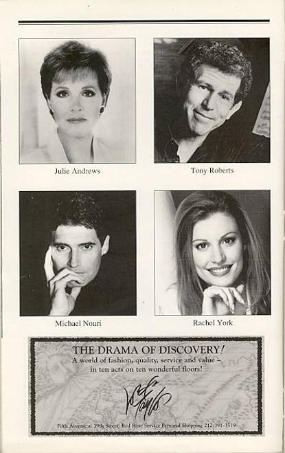 Victor Victoria (Musical), OBC Julie Andrews, Tony Roberts, Michael Nouri, Rachel York, Marquis Theatre (Nov 1996)