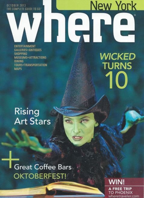 Where New York Oct 2013 (Magazine) Wicked Turns 10 Edtion, Magazine - Story Wicked Turns 10 Years at the Gershwin Theatre, wicked memorabilia, broadway playbills