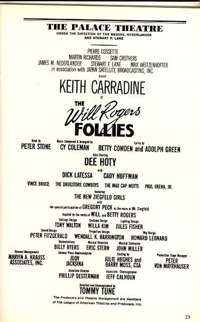 The Will Rogers Follies (Musical), Keith Carradine, Dee Hoty, Dick Latessa, Cady Huffman, Vince Bruce - Palace Theatre