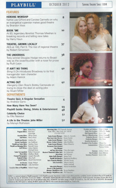 Annie  (Musical) Oct 2012 Playbill, Katie Finneran, Anthony Warlow, Lilla Crawford, Clarke Thorell Palace Theatre