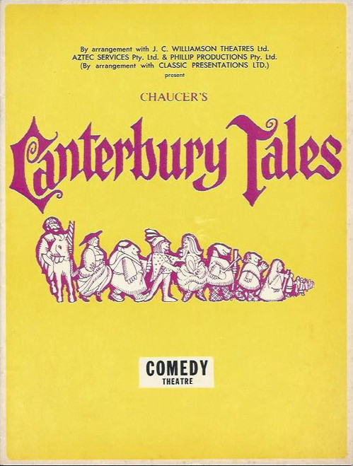 Canterbury Tales, Johnny Lockwood, Evelyn Page, Nick Tate, Rob Inglis - 1969 Australian Production Melbourne Book by Martin Starkie and Nevill Coghill – Music by Richard Hill and John Hawkins, Lyrics by Nevill Coghill