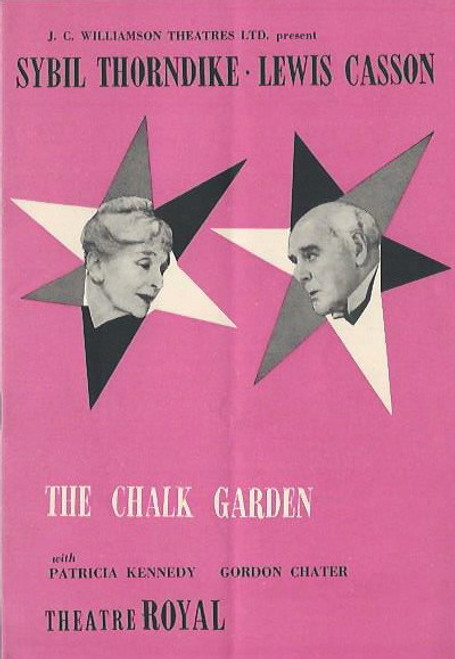 The Chalk Garden (Play), Sydil Thorndike, Lewis Casson, Gordon Chater, Theatre Royal Sydney 1958  Playbill / Program, Sybil Thorndike, Lewis Casson, Gordon Chater, Patricia Kennedy, Laura Jane Casson, Jessica Noad, Mary Mackay, Myrtle Woods