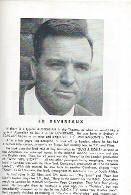 Desire of the Moth (Play) Ed Devereaux, Margaret Browne, Steve Dodd Comedy Theatre  Melbourne   Playbill / Program  1966