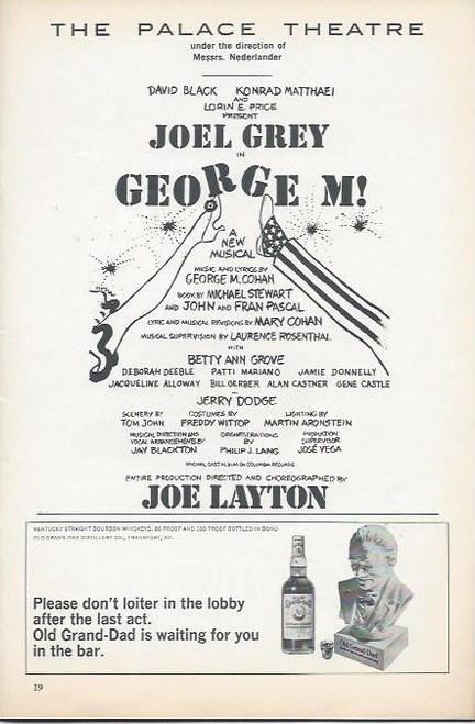 George M (Musical) Music and lyrics by George M. Cohan - Starring Joey Grey, Bernadette Peters, Betty Ann Grove Playbill/ Program Date Feb 1969