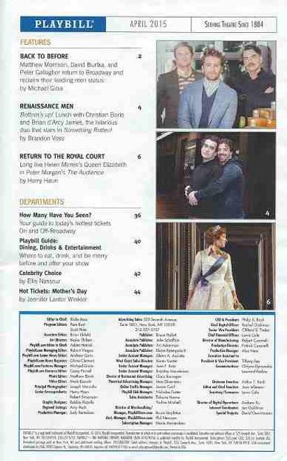 Hedwig, On Broadway at the Belasco Theatre Playbill April 2015, Cast John Cameron Mitchell, Rebecca Naomi Jones, Justin Craig, Matt Duncan, Tim Mislock, Peter Yanowitz