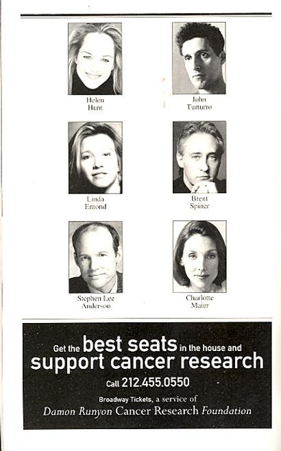 Life (x) 3 (Apr 2003 Play)  Helen Hunt, John Turturro, Brent Spiner, Linda Emond, Stephen Lee Anderson - Circle in the Square
