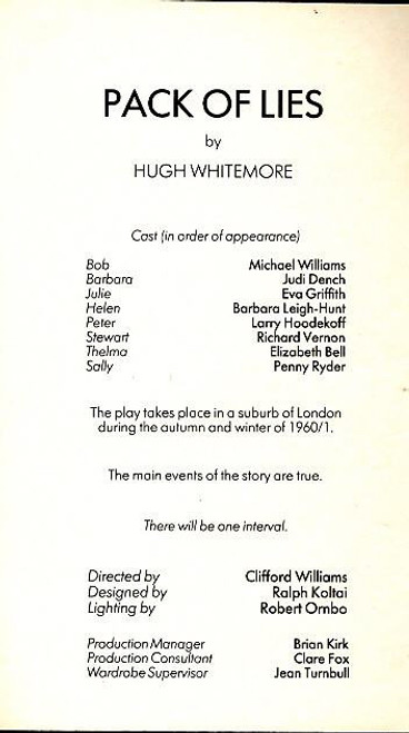 Pack of Lies (Play), Judi Dench - Michael Williams -  1983 London West End Production,  Eva Griffith, Barbara Leigh-Hunt, Larry Hoodekoff, Richard Veron, Elizabeth Bell, Penny Ryder