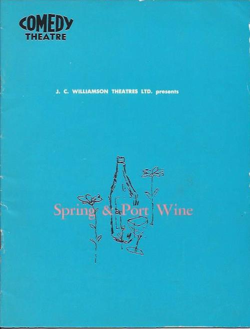 Spring and Port Wine (Play), Comedy Theatre Melbourne 1968 Playbill / Program, Alfred Marks, Thelma Scott, Wendy Blacklock, David Downer, Anne Charleston, Stuart Leslie, Gillian Hunter, John Scholes