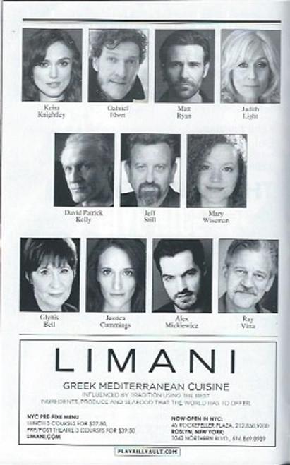 Therese Raquin - Keira Knightley, Studio 54 on Broadway, Playbill, Cast, Keira Knightley, Gabriel Ebert, Matt Ryan, Judith Light