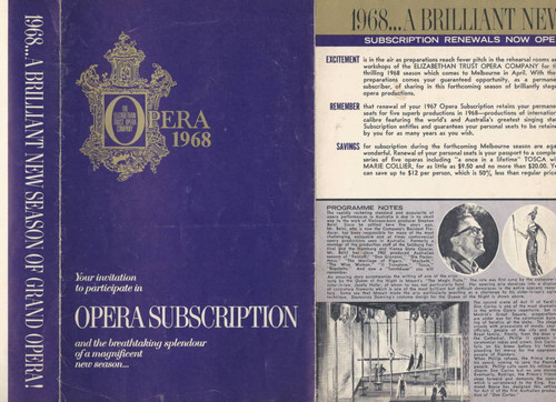 Australian Opera 1968 (Opera) Subscription and Full YearsSouvenir  Program Folder (Elizabethan Opera