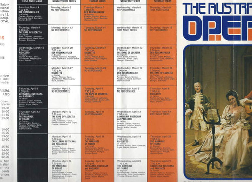 Australian Opera 1972 Season (Opera) John Bacon, Mark Elder, William Reid Souvenir Flyer  Australian Opera 1972 Season