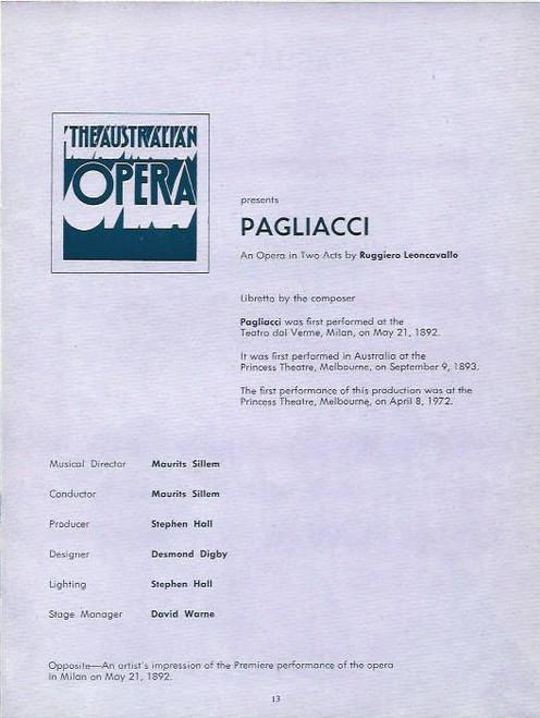 Cavalleria Rusticana and Pagliacci (Opera) Australian Opera Souvenir  Program 1972 Princess Theatre Melbourne