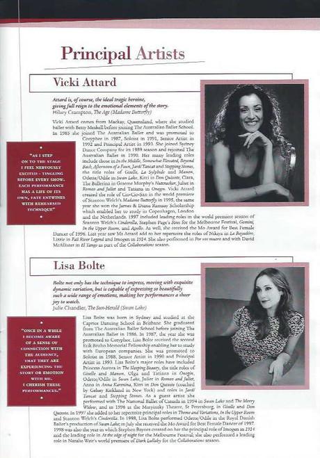 Don Quixote (Ballet) Vicki Attard, Lisa Bolte, Justine Summers, Damien Welch, Li Cunxin Souvenir Brochure  Australian Ballet 1999 Season