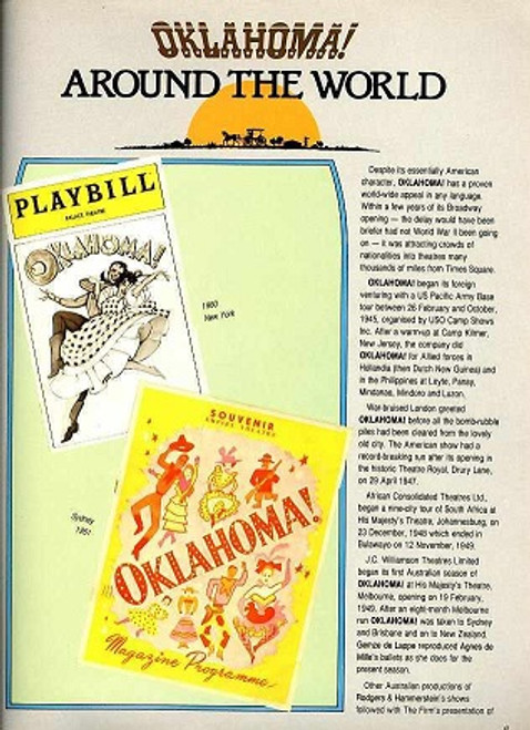 Oklahoma (Musical) 1982 Australian Tour - John Diedrich, Henri Szeps, Kay Eklund, Robin Harrison, Peter Bishop, Donna Lee, Clive Hearne, Neil Melville, Jacqueline Handley, Jo-anne Robinson, Anthony Ryvers, Sally Butterfiels