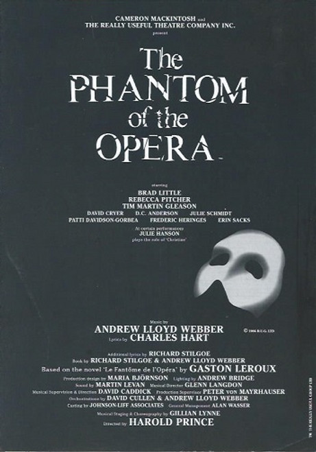 Phantom of the Opera (Musical) 2009 Asian Tour Brad Little, Rebecca Pitcher, Tim Martin Gleason Souvenir Program  Broadway Production