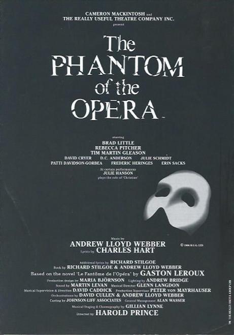 Phantom of the Opera (Musical) 2009 Asian Tour Brad Little, Rebecca Pitcher, Tim Martin Gleason Souvenir Program  Broadway Production