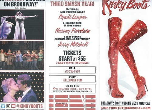 Kinky Boots (Musical) Al Hirschfeld Theatre Broadway Billy Porter, Steven Booth – Flyer Three panel x 2 sides Original Poster Art Picture of Cast and Set