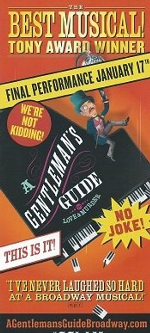 A Gentleman's Guide to Love and Murder Jefferson Mays, Bryce Pinkham Final Performance Sept 12 Flyer