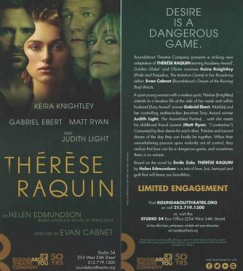 Therese Raquin – Keira Knightley Studio 54 on Broadway