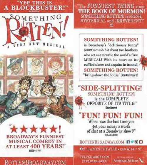 Something Rotten! by John O'Farrell, Wayne & Karey Kirkpatrick Flyer 2015 Broadway