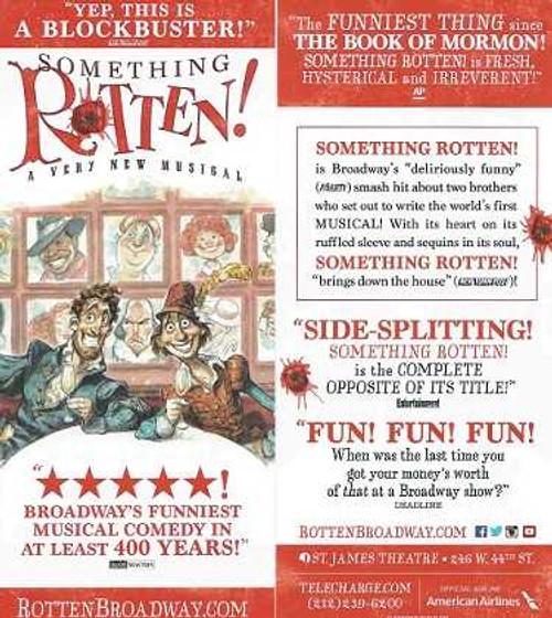 Something Rotten! by John O'Farrell, Wayne & Karey Kirkpatrick Flyer 2015 Broadway