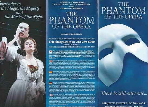 Phantom of the Opera – Majestic Theatre Flyer Sept 2015 Broadway