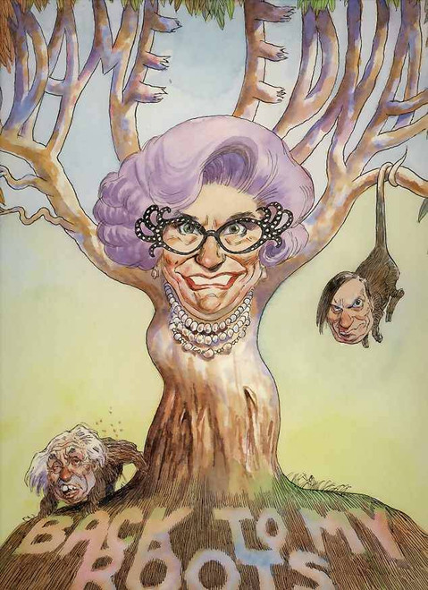 """The nostalgic """"Barry Humphries Back to my Roots"""" tour featured , Humphries, Edna, Sir Les and Sandy Stone around Australia in 2003."""