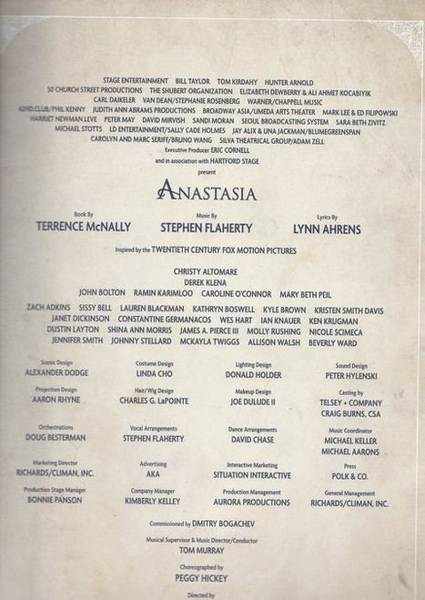 Anastasia is a musical with music and lyrics by Lynn Ahrens and Stephen Flaherty, and a book by Terrence McNally. Based on the 1997 film of the same name, the musical tells the story of the legend of Grand Duchess Anastasia Nikolaevna of Russia, which claims that she in fact escaped the execution of her family.