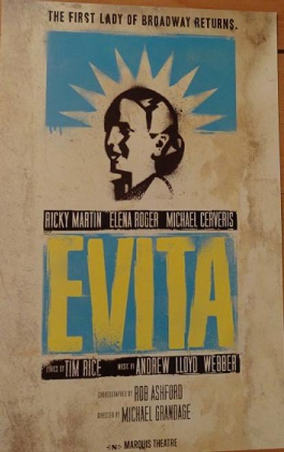 Evita (Musical) Ricky Martin, Elena Roger, Max Von Essen, Michael Cerveris - 2012 Broadway Revival Marquis Theatre Broadway