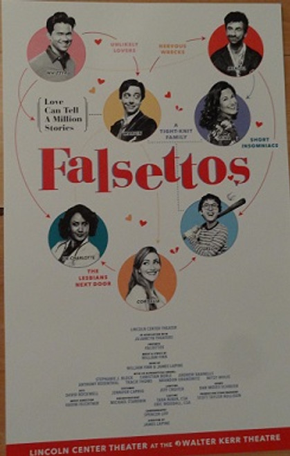 Falsettos (Musical) Oct 2016 Broadway Revival Walter Kerr Theatre - Poster/Windowcard