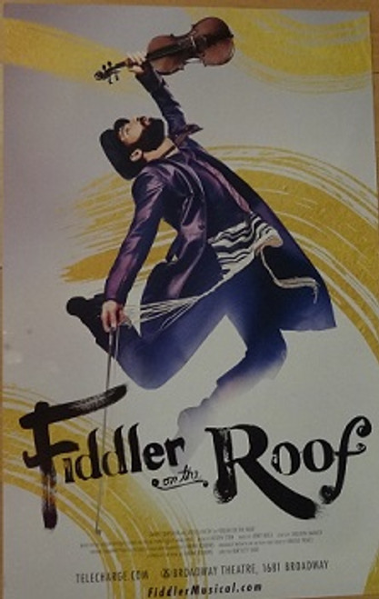 Fiddler on the Roof Broadway Revival, Poster/windowcard Sept 2016   Broadway Theatre Danny Burstein, Jessica Hecht, Adam Kantor