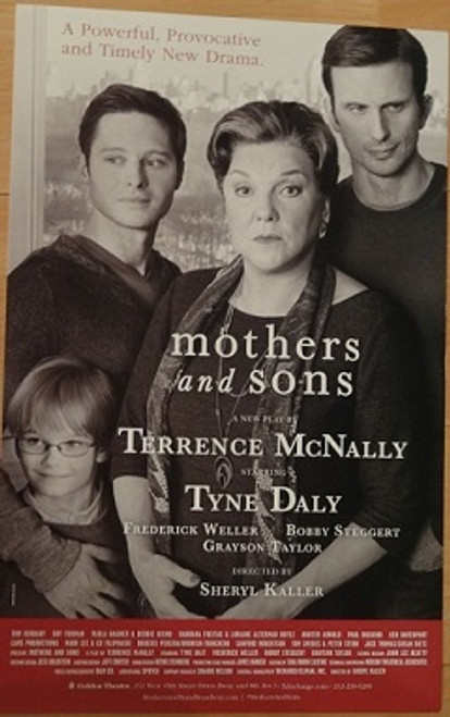 Mothers and Sons Broadway 2014, Poster windowcard, Tyne Daly, Frederick Weller, Grayson Taylor, Bobby Steggert