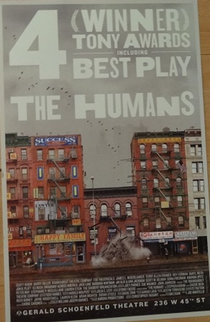 The Humans, by Stephen Karam, Poster Windowcard 2016 Broadway, Cassie Beck, Reed Birney, Jayne Houdyshell, Lauren Klein, Arian Moayed, Sarah Steele