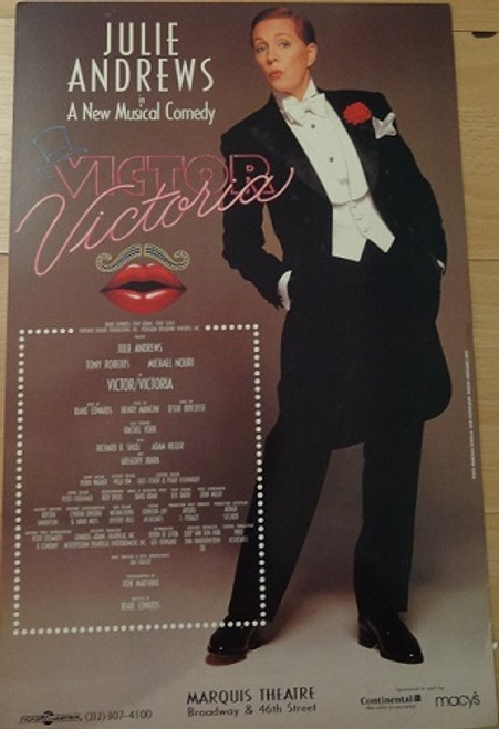 Victor/Victoria (Musical) Poster, Julie Andrews, Tony Roberts,  Rachel York - 1995 Broadway Production Directed by Blake Edwards