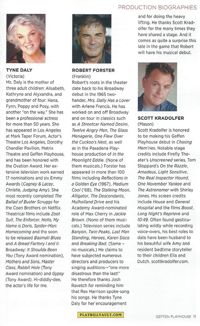 Chasing Mem'ries: A Different Kind of Musical (Playbill 2017 Geffen Playhouse) Starring  Tyne Daly, Robert Forster & Scott Kradolfer
