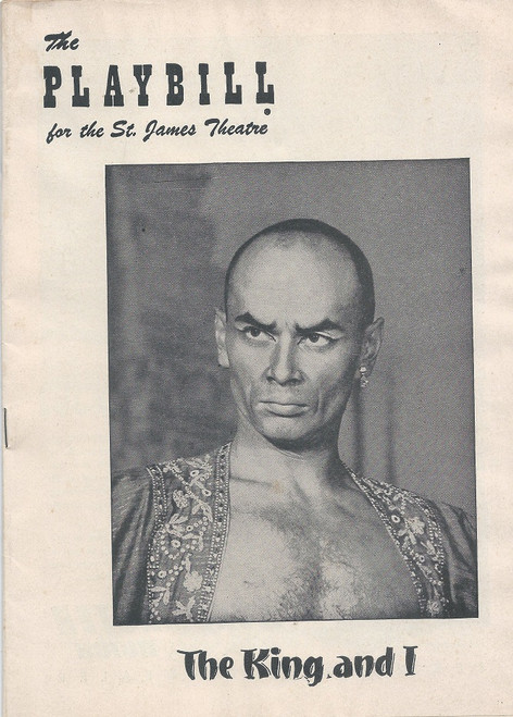 The King and I (Aug 1953), Yul Brynner, Constance Carpenter - St James Theatre   The King and I is a musical by Richard Rodgers and Oscar Hammerstein II based on the book Anna and the King of Siam by Margaret Landon.