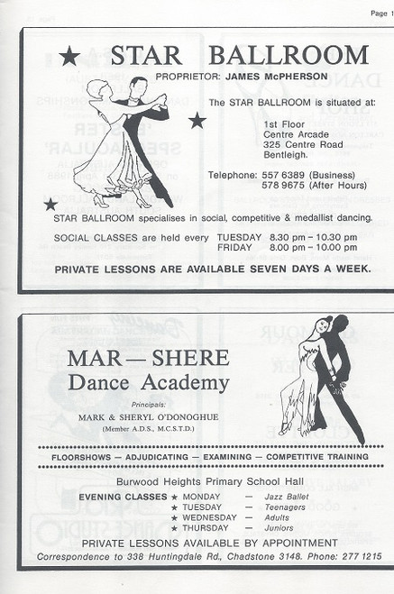 Australian Ballroom Championships 1987, Ballroom dance may refer, at its widest definition, to almost any type of partner dancing as recreation. However, with the emergence of dancesport in modern times, the term has become narrower in scope and traditionally refers to the five International Standard and five International Latin style dances