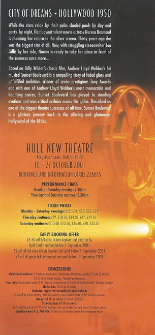 Sunset Boulevard UK Tour Flyer for Hull Hull New Theatre - 2001 (Revival)