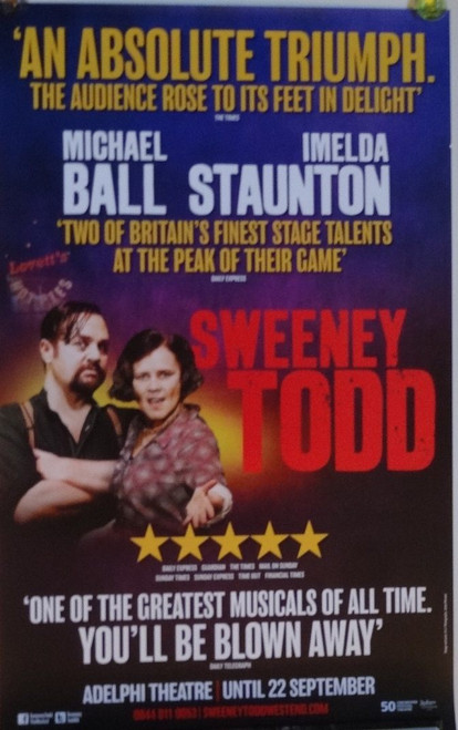 Sweeney Todd: The Demon Barber of Fleet Street, music and lyrics by Stephen Sondheim and book by Hugh Wheeler