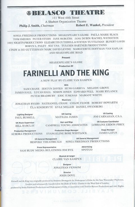 Farinelli and The King Playbill  Jan 2018 Buy Now