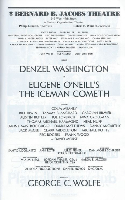 The Iceman Cometh Playbill May 2018 - Buy Now with Denzel Washington at the Bernard B Jacobs Theatre