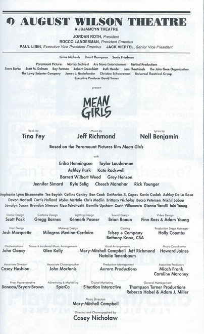 Mean Girls Broadway Playbill Sept 2018, Playbill August Wilson Theatre Broadway, Buy Now