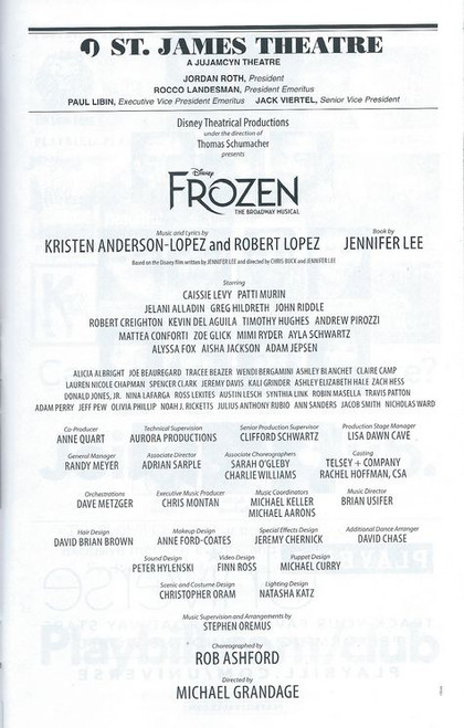 Frozen the Broadway Musical, Playbill Sept 2018 OBC, Caissie Levy, Patti Murin. Buy Now