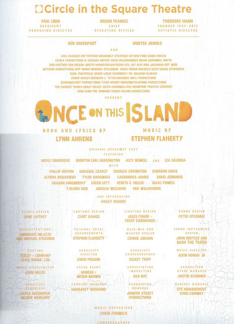 Once on this Island (Broadway 2017 revival), Cast: Merle Dandridge, Quentin Earl Darrington, Alex Newell, Lea Salonga, This Souvenir Program/Brochure is from 2017 Broadway Revival