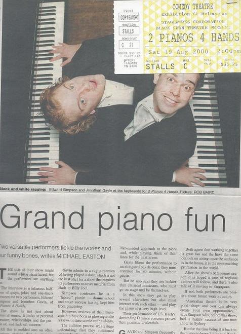 2 Pianos 4 Hands Australian Tour 2000, Comedy Theatre Melbourne, Cast: Edward Simpson, Jonathan Gavin