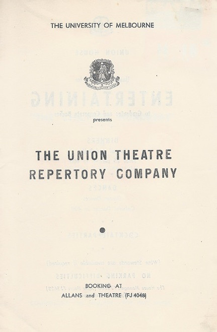The Chiltern Hundreds - Melbourne Production - 1955 Play by William Douglas Home The University of Melbourne - The Union Theatre Repertory Company Cast: Reginald Newson, Maree Tomasetti, Zoe Caldwell, Sylvia Reid, Ray Lawler, Alex Scott, Roma Johnston, Michael Hourihan