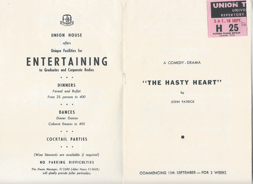 The Hasty Heart by John Patrick - 1954, The University of Melbourne - Union Theatre Repertory Company Cast: Malcolm Robertson, Alex Scott, Michael Hourihan, Richard Trahair, Ian Maugham, Noel Ferrier, Zoe Caldwell, Paul Maloney, Ray Lawler