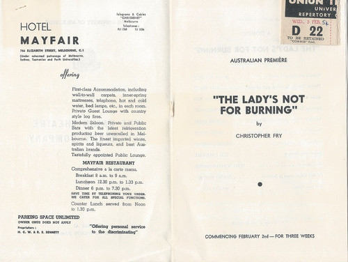 The Lady's Not For Burning By Christopher Fry - 1954 The University of Melbourne - Union Theatre Repertory Company Cast: Brian Wallace, Alex Scott, Sylvia Reid, Bryan Edward, Carmel Dunn, James Inglis, George Fairfax, Zoe Caldwell, Peter O'Shaughnessy, Robert Stirling, Walter Plinge