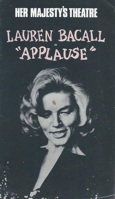 Applause (Musical) Her Majesty's Theatre Melbourne1970 Lauren Bacall - Eric Flynn, Basil Hoskins, Sarah Marshall, Rod McLennan, Ken Walsh, Sheila O'Neill
